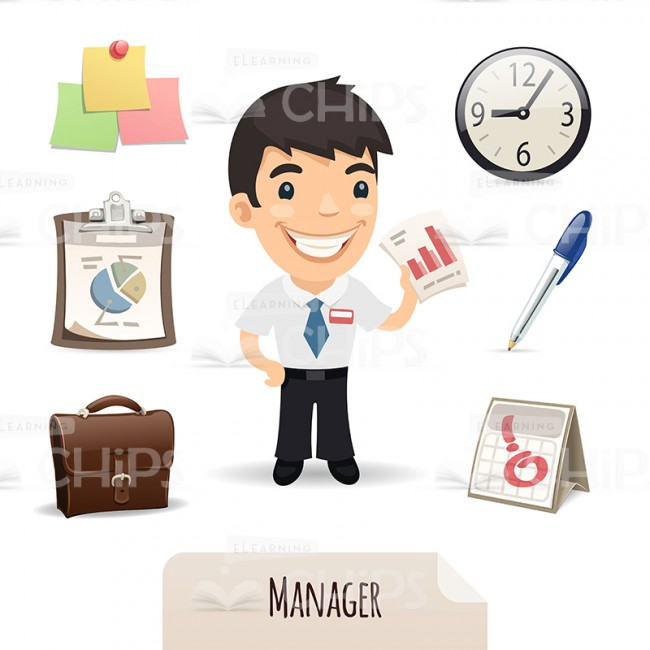 650x650 Confident Manager Vector Character With Icon Set