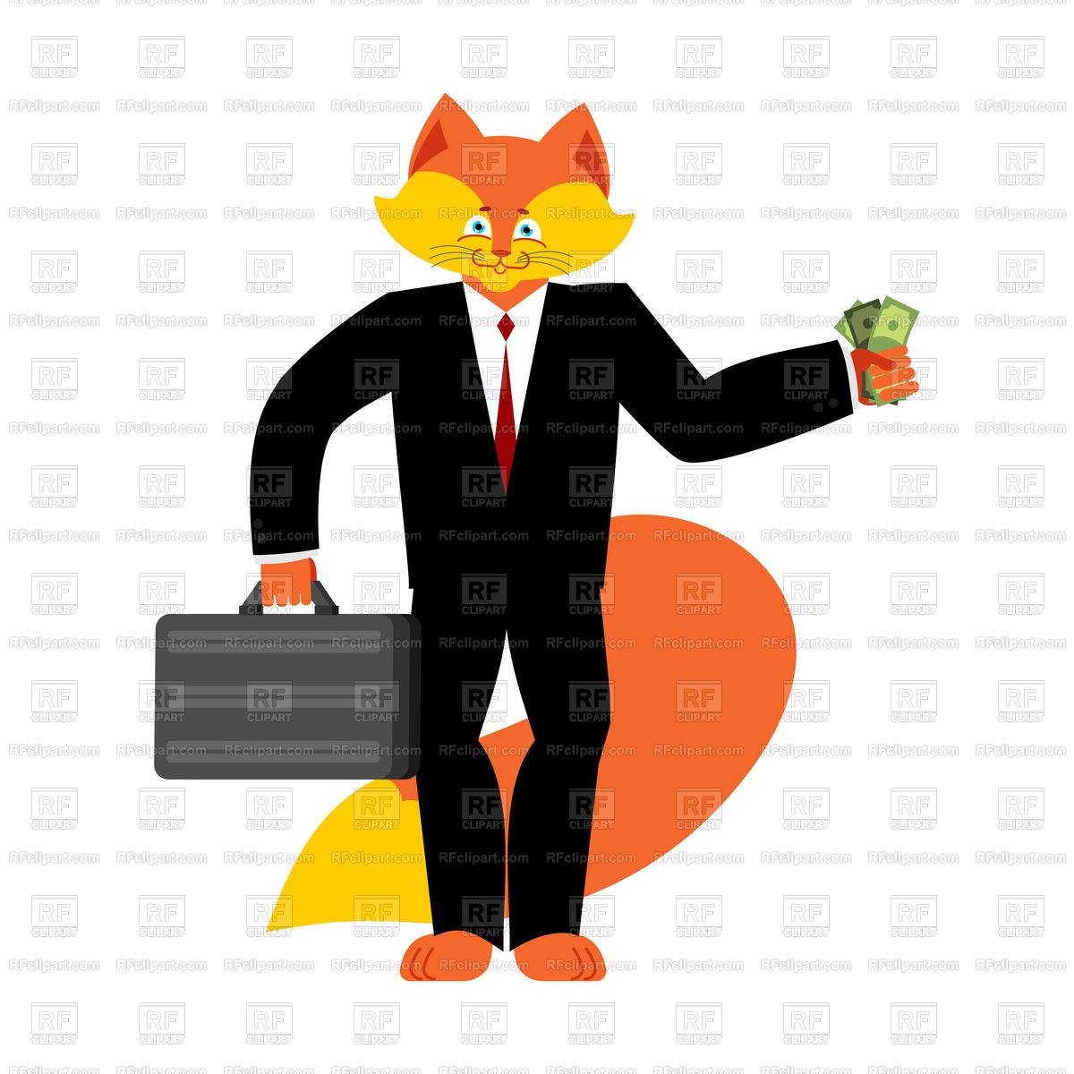 1200x1200 Fox Businessman Boss. Wild Cunning Animal Manager. Vector