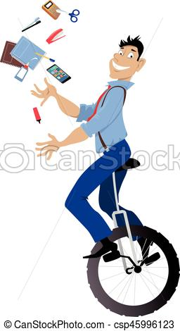 256x470 Office Manager. Young Man Riding A Unicycle And Juggling Office