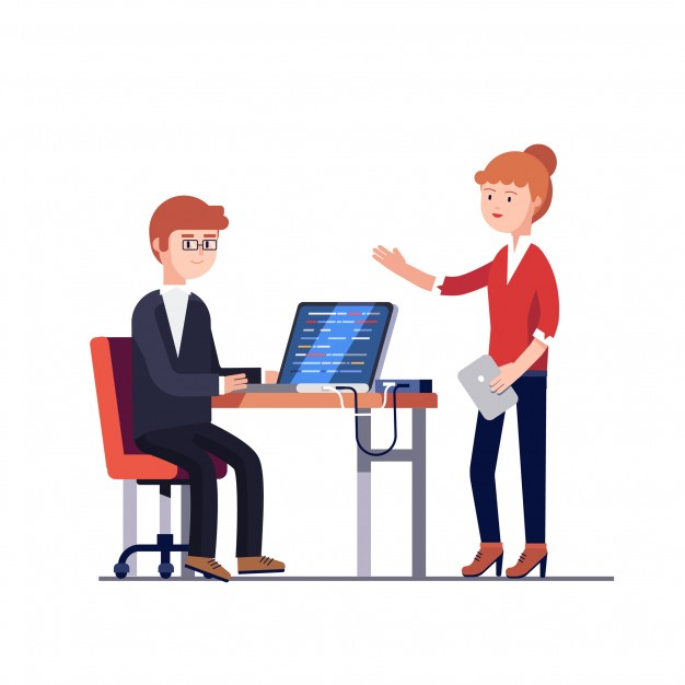 626x626 Project Manager Woman Talking To A Programmer Man Vector Free