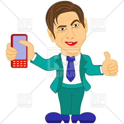 400x400 Smiled Businessman In Turquoise Suit With Smartphone