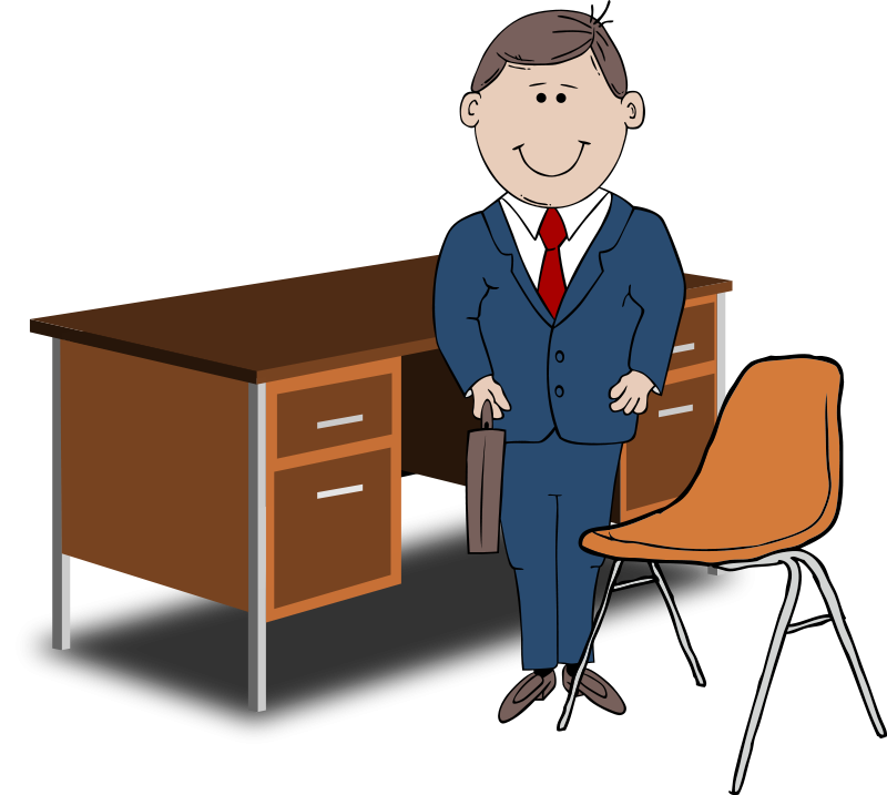 800x717 Teacher Manager Between Chair And Desk Free Vector 4vector