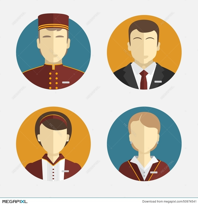 800x830 Avatars People. The Hotel Staff. Reception, Curtains, Maid Manager