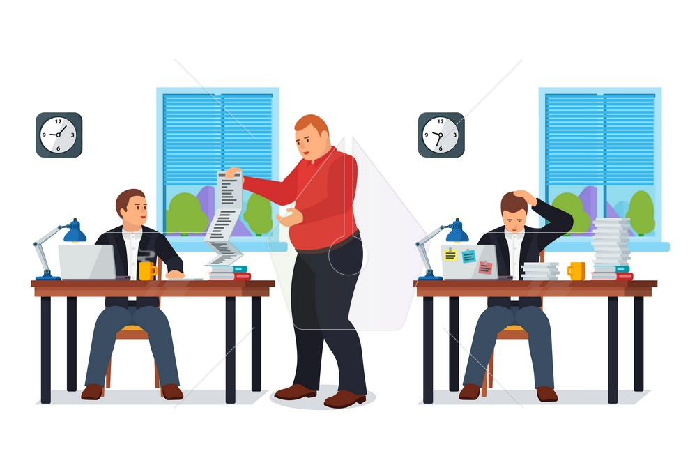 1000x667 Boss Gives Many Requests To Your Manager. Vector Illustration