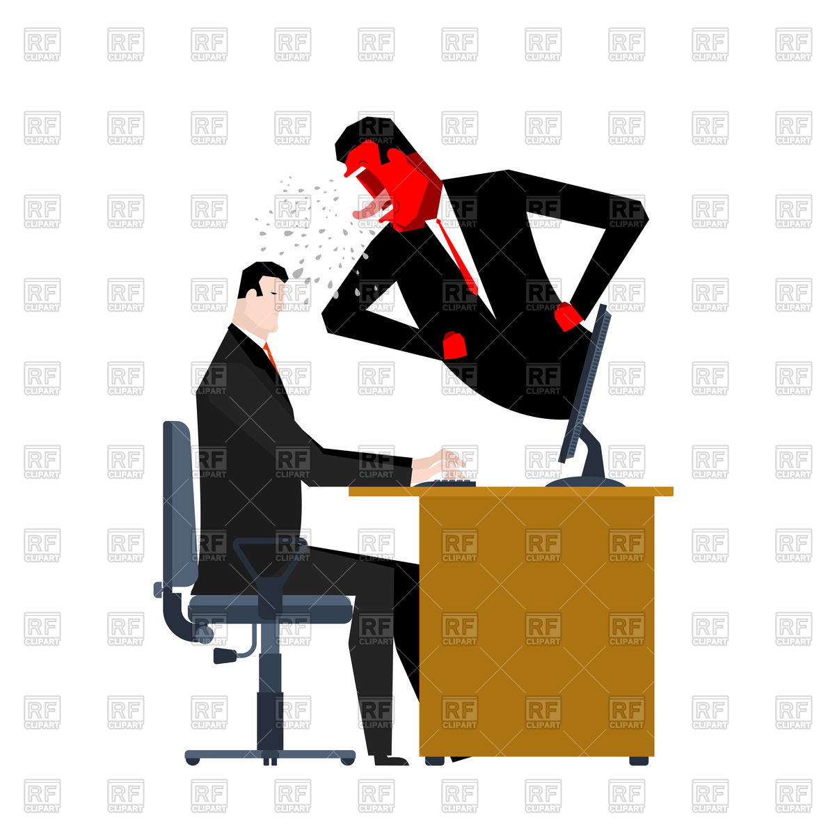 1200x1200 Boss Yelling On Manager Vector Image Vector Artwork Of People