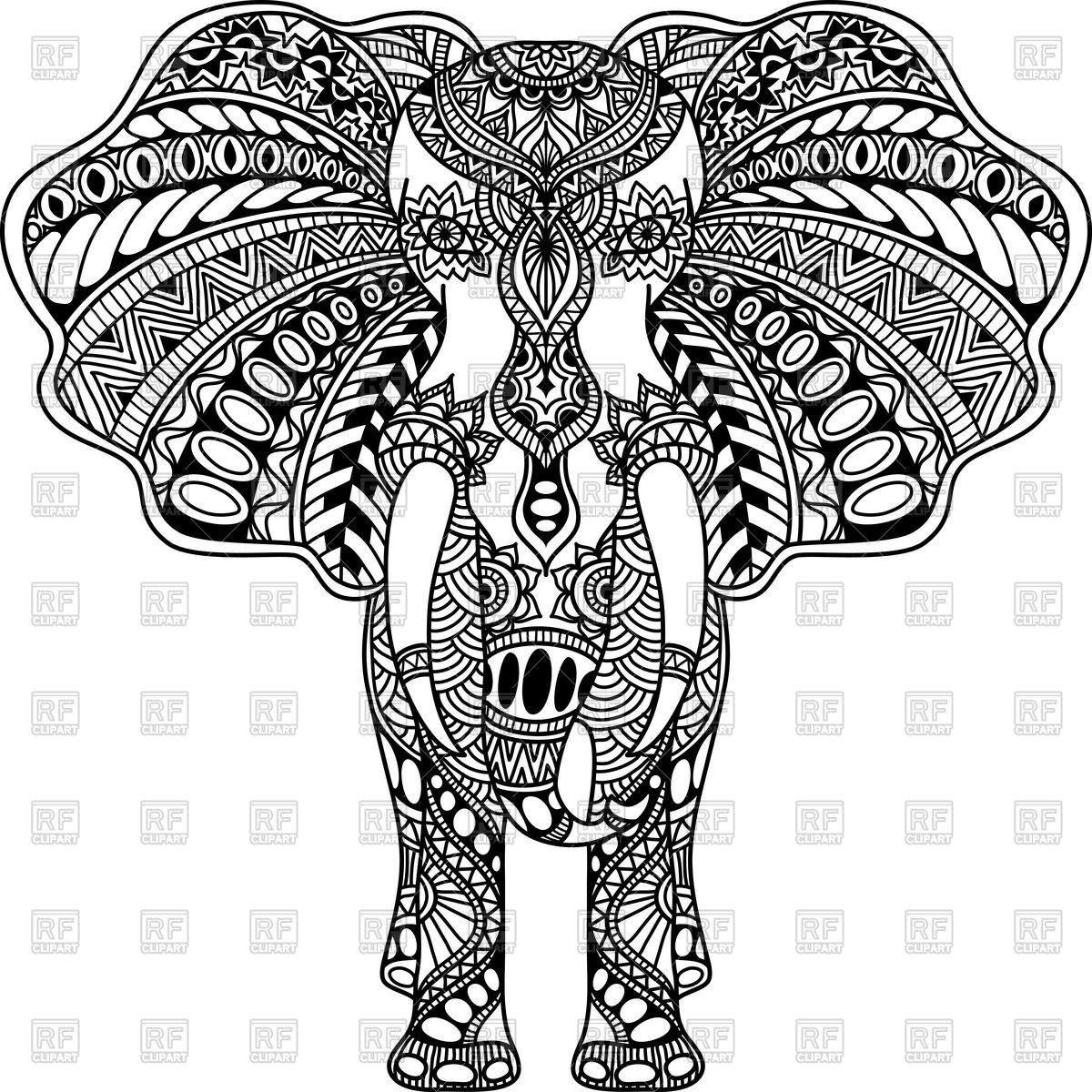 1200x1200 Henna Mehndi Tattoo Style Indian Elephant Vector Image Vector