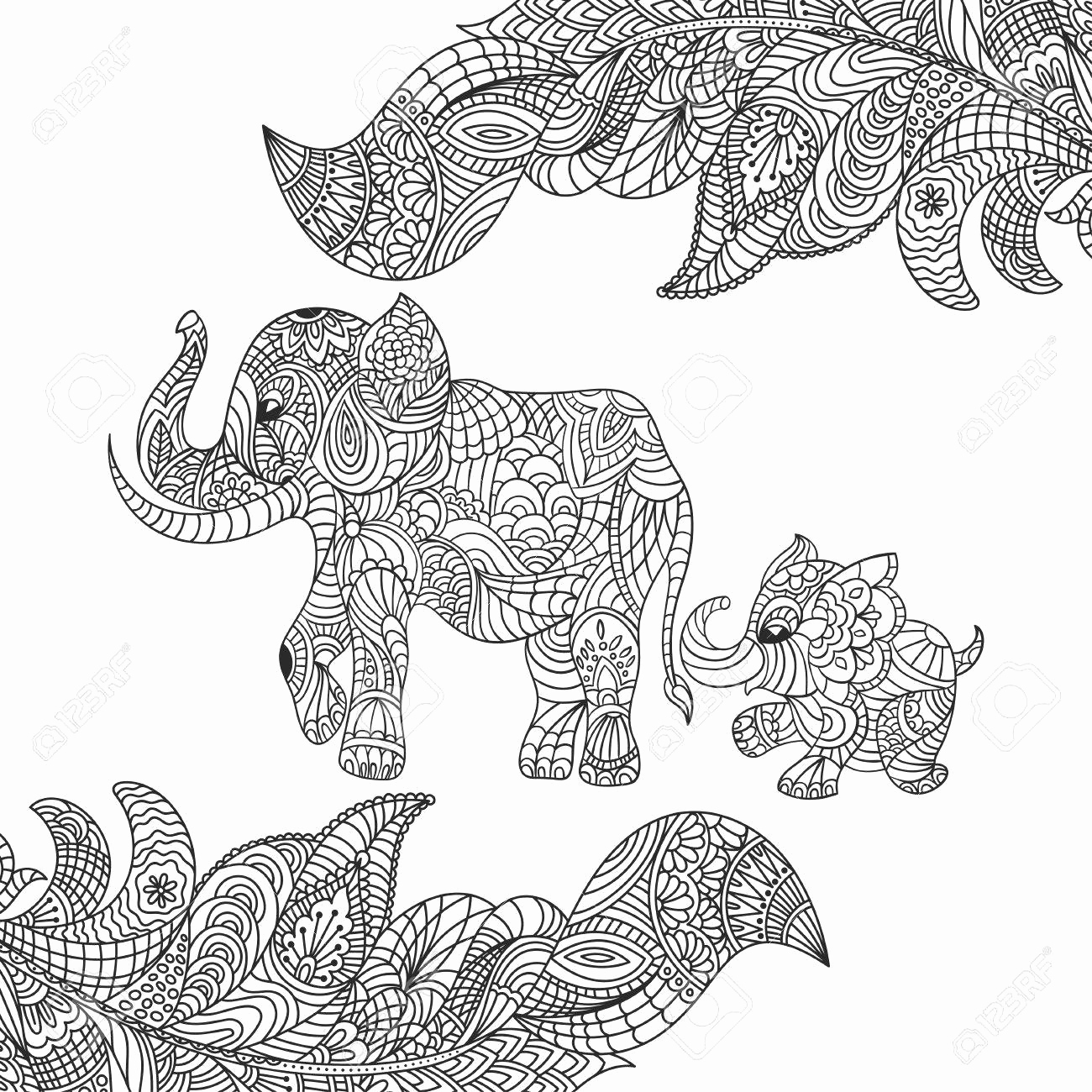 1300x1300 Mandala Coloring Pages Elephant Vector Monochrome Hand Drawn