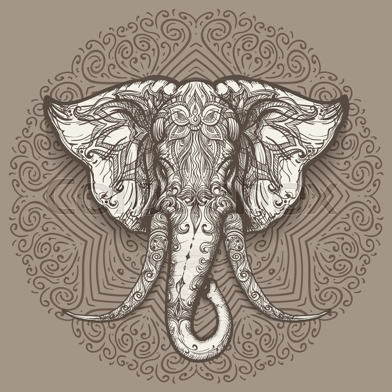 800x800 Stylized Elephant Head Art On Mandala Background. Vector