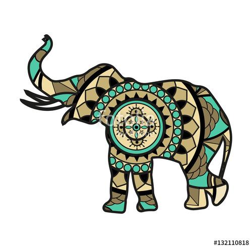 500x492 Vector Illustration Of An Elephant Mandala, Elefante Mandala