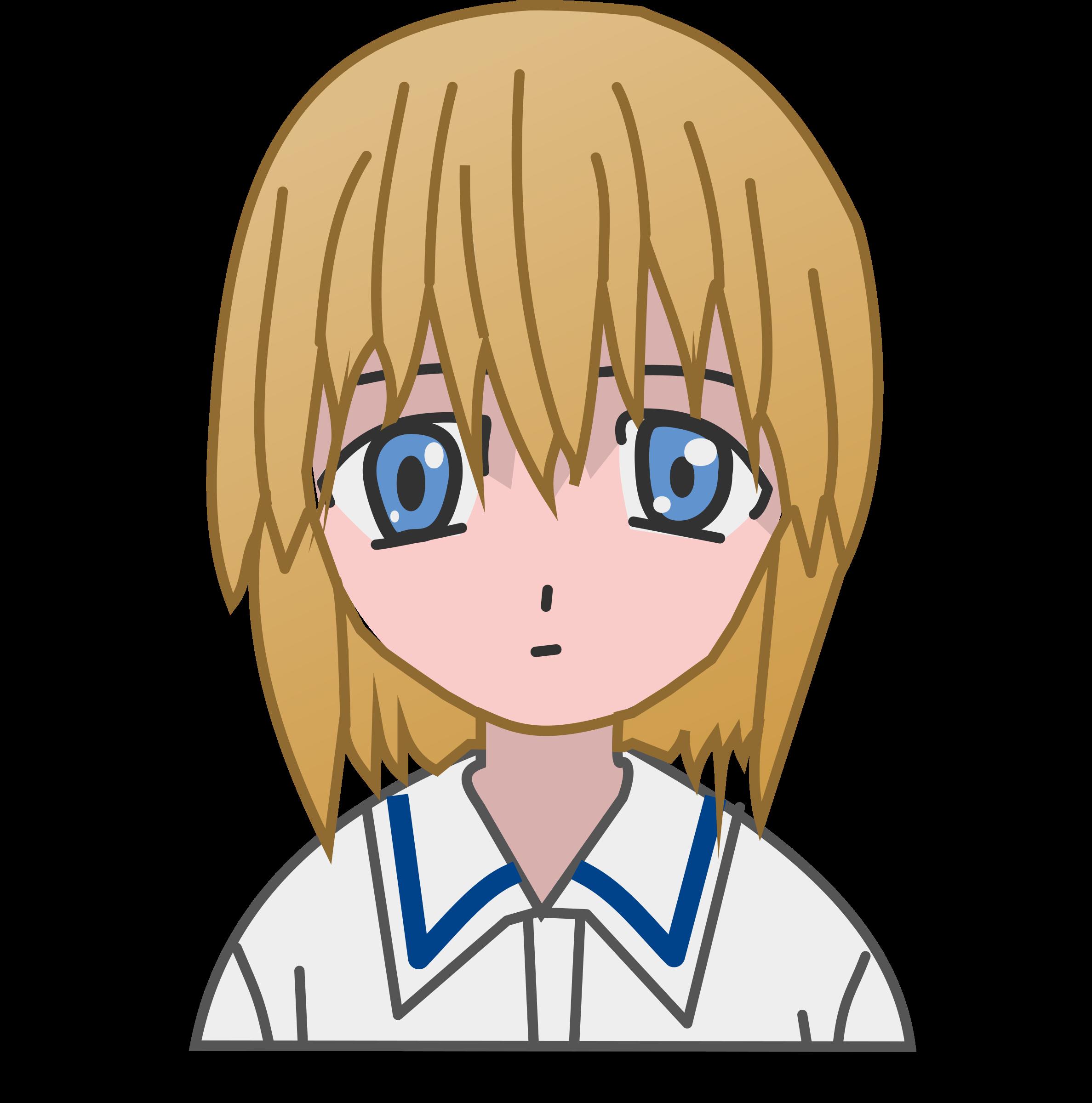 2375x2400 Manga Girl Vector Clipart Image