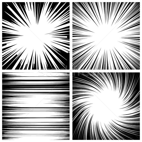 600x600 Manga Speed Lines Set Vector. Vector Illustration Pikepicture