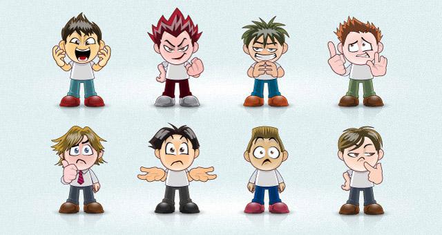 640x340 Vector Manga Avatar Faces Vector Characters Pixeden