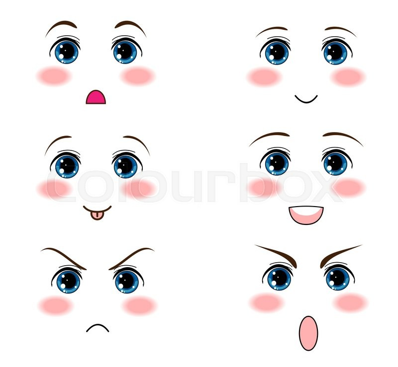 800x739 Vector Icon Set. Kawaii Anime, Manga Face, Muzzle With Different