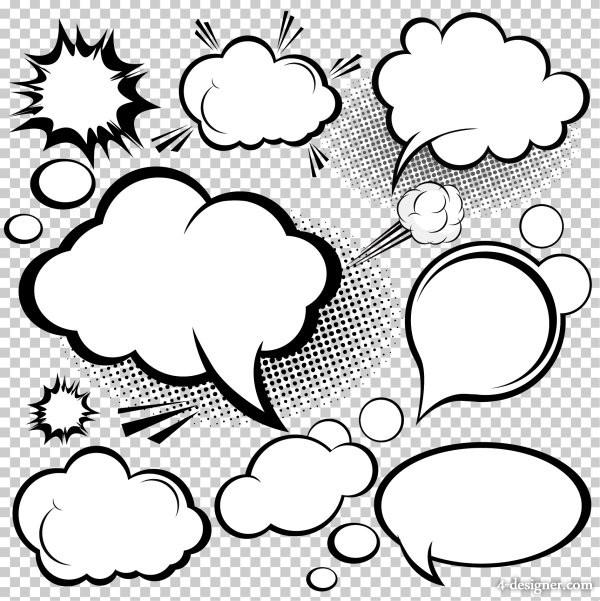 600x601 4 Designer Manga Style Mushroom Cloud Layer 02 Vector