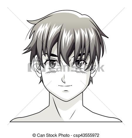 450x470 Face Boy Anime Manga Comic Vector Illustration Eps 10.