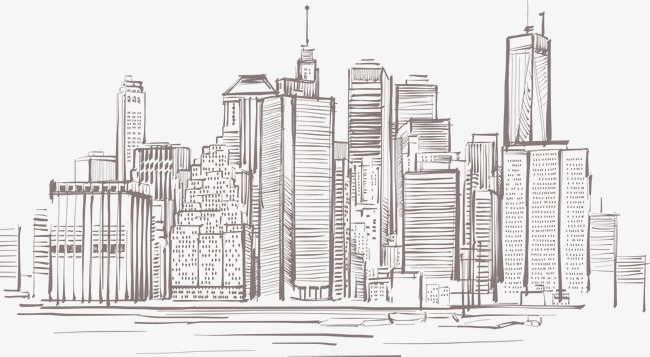 650x357 Hand Painted City Building In Manhattan, City Vector, Building