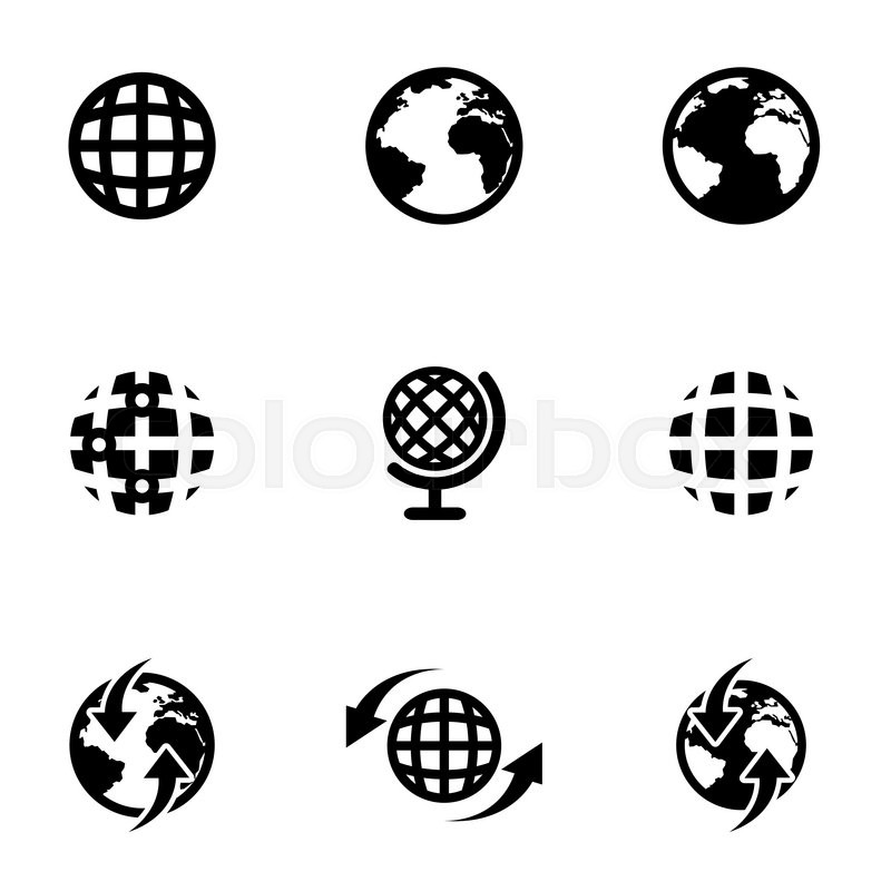 800x800 Vector Black World Map Icon Set. World Map Icon Object, World Map
