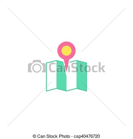 450x470 Map Pin Icon Vector. Flat Simple Color Pictogram.