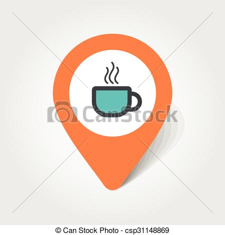 450x470 Cap Of Tea Or Coffee Map Pin Icon, Map Pointer, Vector... Clip Art