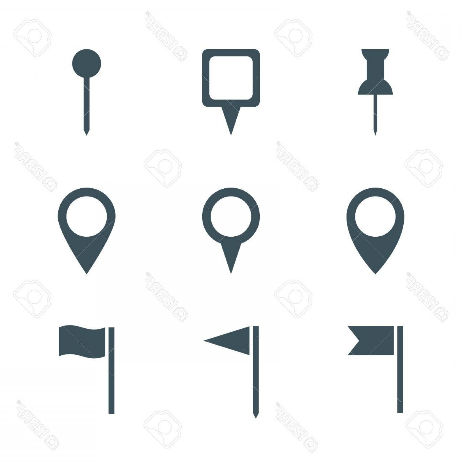 1560x1560 Photostock Vector Map Pin Icon Set Isolated On White Background