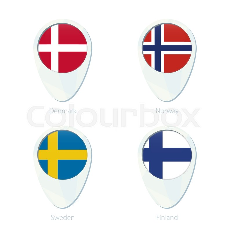 800x800 Denmark, Norway, Sweden, Finland Flag Location Map Pin Icon
