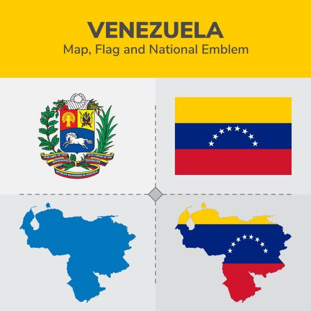 640x640 Venezuela Mapa Bandera Y Escudo Nacional Continentes Mapa
