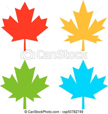 445x470 Maple Leaf Vector Icon. Color Maple Leaves Vector Icons Set.