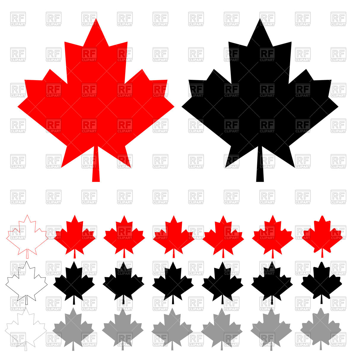 1200x1200 Red, Black And Grey Maple Leaf Vector Image Vector Artwork Of