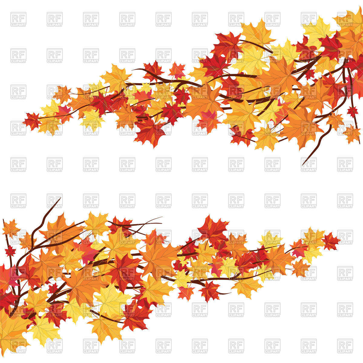 1200x1200 Branches With Orange Maple Leaves Vector Image Vector Artwork Of