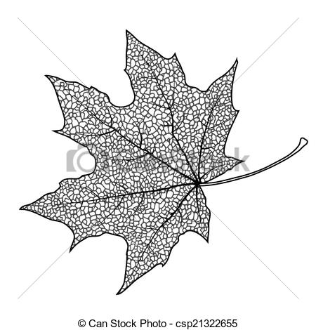 450x470 Maple Leaf. Silhouette Of The Textured Maple Leaf, Vector
