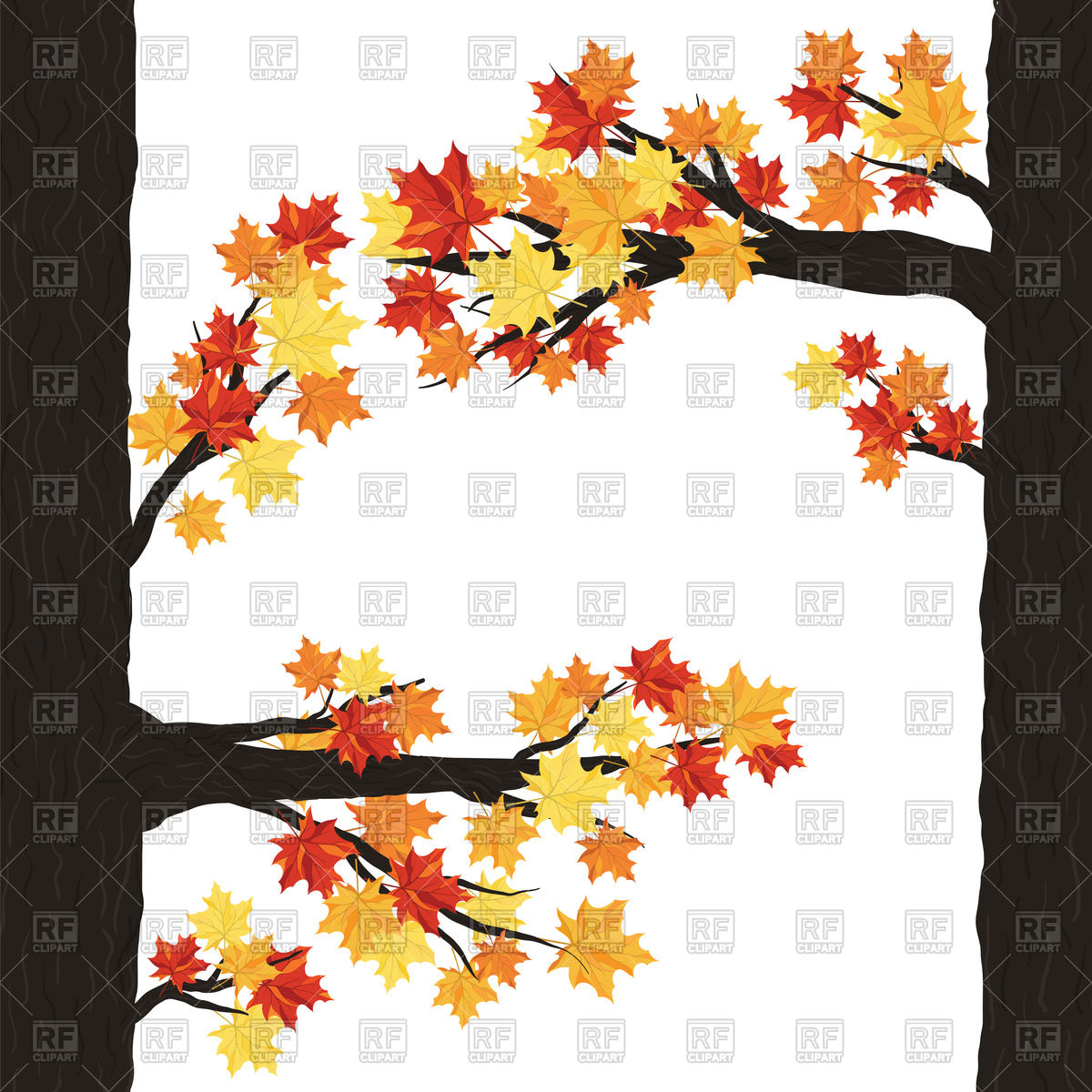 1200x1200 Autumn Tree With Maple Leaves Vector Image Vector Artwork Of
