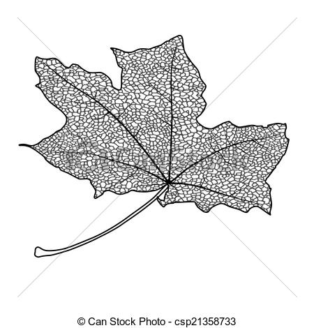 450x470 Silhouette Of The Textured Maple Leaf, Vector Illustration