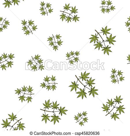 450x470 Seamless Pattern With Japanese Maple Tree. Vector Illustration.