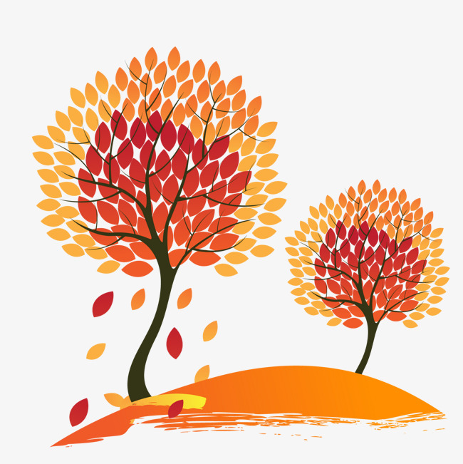 650x651 Vector Hand Painted Autumn Red Maple Tree, Tree Vector, Vector