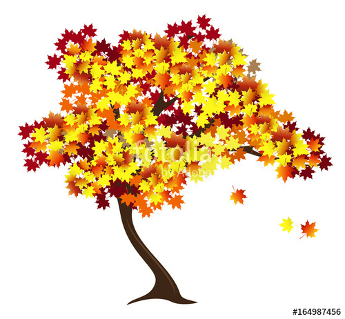 500x462 Autumn Maple Tree With Red And Yellow Falling Leaves. Hand Drawn