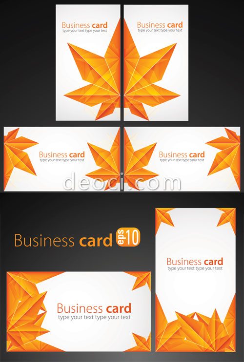 500x743 Free Vector Maple Leaf Origami Business Card Background Design
