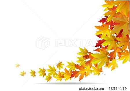 450x317 Maple Autumn Falling Leaves, Vector Illustration.