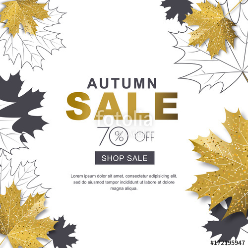 500x500 Autumn Sale Banner With 3d Style Gold And Outline Maple Autumn