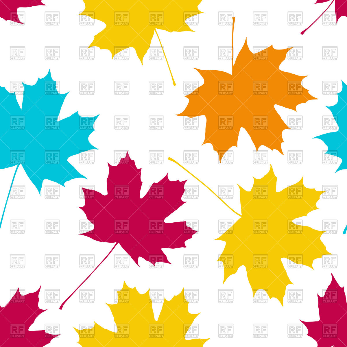 1200x1200 Seamless Pattern With Colorful Leaves Of Maple Vector Image