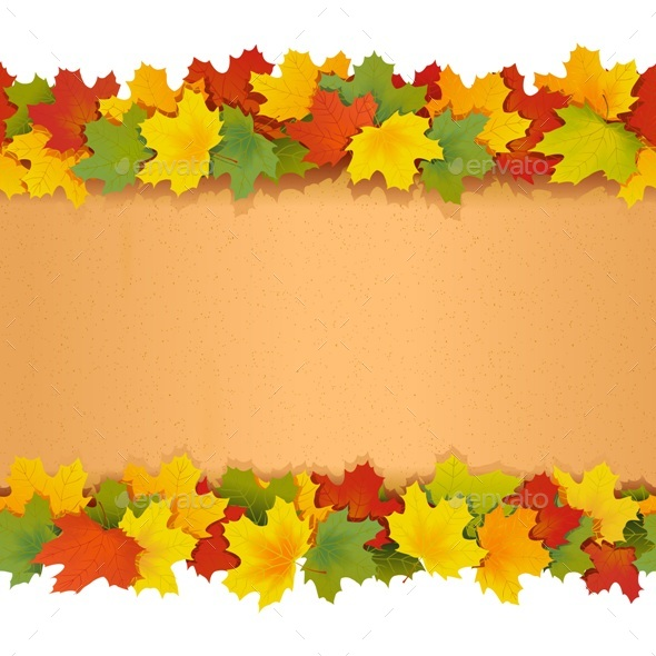 590x590 Vector Paper Border With Maple Leaves By Dashadima Graphicriver