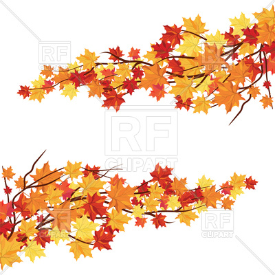 400x400 Branches With Orange Maple Leaves Vector Image Vector Artwork Of