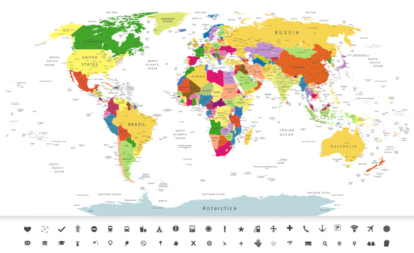 600x367 Free Navigation Maps Political World Map With Navigation Icons