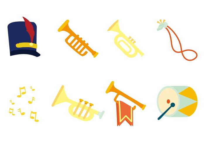 700x490 Free Marching Band Instrument Icons Vector