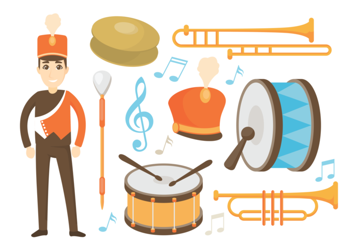 700x490 Marching Band Icons Vector