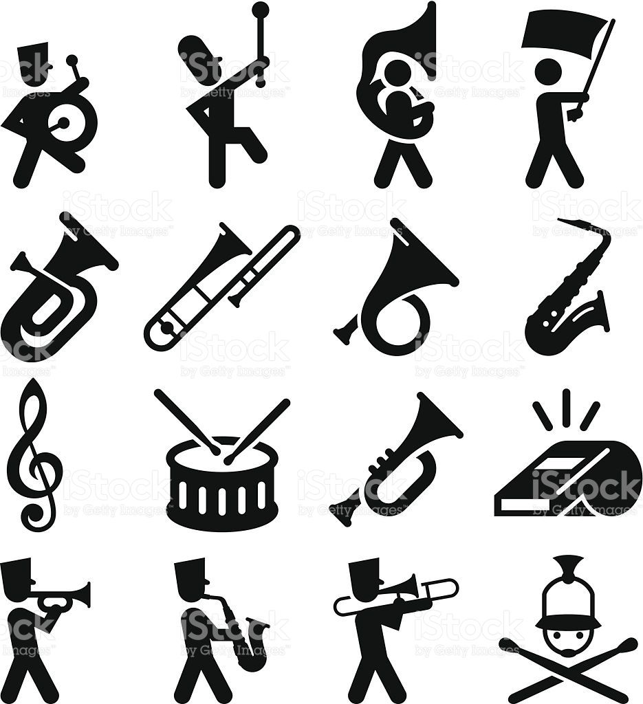 935x1024 Marching Band Icons. Professional Clip Art For Your Print Or Web