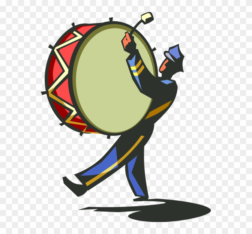 840x780 Vector Illustration Of Marching Band Drummer With Bass