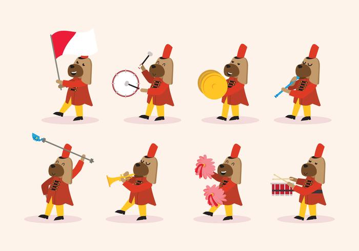 700x490 Dog Marching Band Vector Stock Images