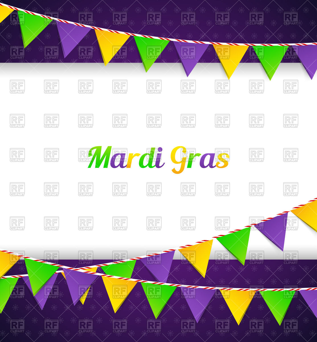 1113x1200 Mardi Gras Card With Garlands