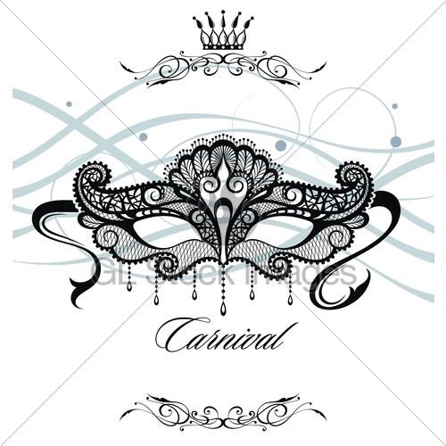 500x500 Beautiful Mask Of Lace Symbol. Mardi Gras Vector Background. Gl