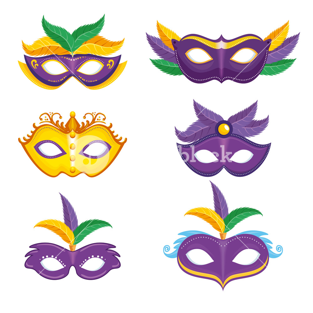 1000x1000 Set Of Purple And Yellow Carnival Mask Mardi Gras Vector